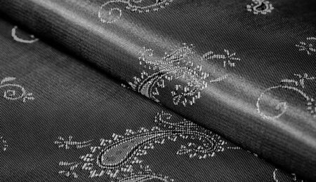 Texture, Black silk chiffon fabric with paisley print. fabulous soft and dark fabric, with a beautiful paisley pattern in gray, it would be just as beautiful for your design, wallpaper, posters