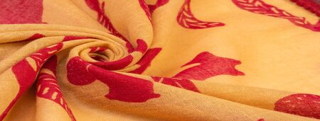 Texture, background, cotton fabric thin yellow with a print of squirrels, martens, sables. Pattern, Decor, Textile, Art, with this fabric you immerse yourself in the world of Rokashi and prosperity Imagens