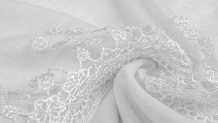 Texture, background, pattern, postcard, silk fabric, female white scarf with lace wrappers. Use these fancy images to create your print and digital materials. 스톡 콘텐츠