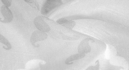 Texture background, white silk fabric with painted cartoon mustache, Geekly Mustache cream, Geekly Mustache white