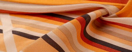 Silk fabric, striped fabric, brownish yellow red beige lines, exquisite design. The photo is intended for, interior, imitation, fashion designer, marketing, architecture, sketch, layout, entourage