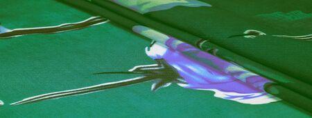 Textura, fondo, tela de seda verde con estampado floral azul. Sus proyectos son desarrollados en nuestro estudio por diseñadores que tienen un profundo conocimiento en el uso de su producto final. Foto de archivo