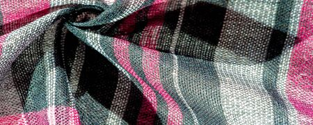 Texture, background, pattern, winter warm soft scarf for your projects Black and red white blanket, with this fabric you will be comfortable, warm, your design will be imposed on your home Banco de Imagens