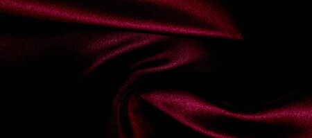 texture, red silk fabric panoramic photo. Silk Duke mood satin - beautiful and regal. It has a darker luster, then the usual satin on the one hand, has an average weight and has a more solid hand.