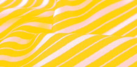 silk striped fabric. yellow white stripes. This beautiful, super soft, medium-sized silk blend is perfect for your design projects. It is brushed on the back for a luxurious feeling.