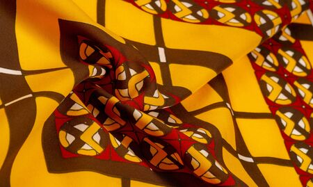 Background texture. silk bright fabric Mosaic geometric shapes Composition with colorful stained glass Grid design Illustration red yellow brown colors Stok Fotoğraf