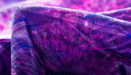 Texture, background, pattern. Abstract colorful floral pattern 100% pure silk Crepe de Chine silk fabric, purple pink blue white shades. If you are looking for something that will inspire you, Reklamní fotografie