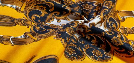 Silk fabric with gothic pattern. I would be glad to be surrounded by these rich silk gothic prints of rich black and gold shades This set is also well suited for a vampire lair or a romantic boudoir Фото со стока