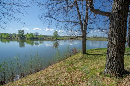 Photos of the pond, source, birch forest. A lake is an area filled with water, localized in a basin surrounded by land, with the exception of any river or other outlet Stok Fotoğraf - 141728061