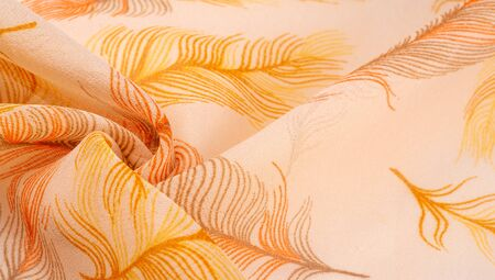 Texture background, women's shawl. Pure silk scarf - Hand-painted scarf with an exotic bird feather pattern with digital printing.