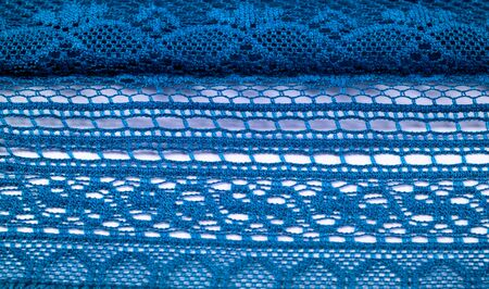 texture, background, design, Blue knitted lace triangular scarf, shawl, autumn winter scarf, hood, wedding accessories Project ideas, designer fashion accessories 写真素材
