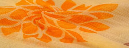 Texture, background, pattern, sensations, orange red yellow floral, A foulard is a lightweight fabric, either twill or plain-woven, made of silk or a mix of silk and cotton.
