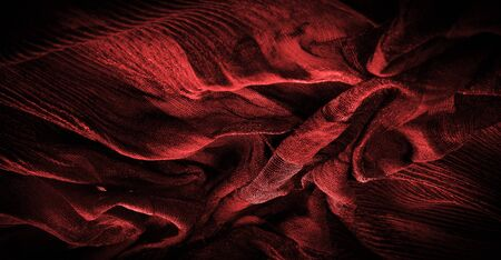 Texture, background, pattern, Crepe deep red, is a fabric of silk, wool or synthetic fibers with a distinctly clear, crimped appearance. Crepe is also historically called crêpe or crisp