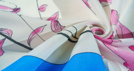 Texture, background, pattern, collection, silk fabric, women's scarf, white cream with pink shades, blue