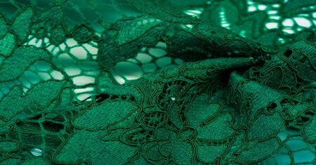 Texture, background, pattern, green lace fabric, Tender embossed lace fabric, scalloped on both edges. Suitable for your projects, design, etc. Banco de Imagens