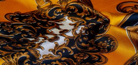 Silk fabric with gothic pattern. I would be glad to be surrounded by these rich silk gothic prints of rich black and gold shades This set is also well suited for a vampire lair or a romantic boudoir 写真素材