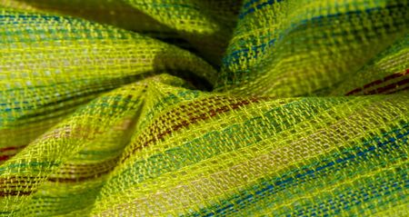 texture, background, pattern, postcard, fabric light green striped red-blue yellow lines, very light elastic knitwear, light shine