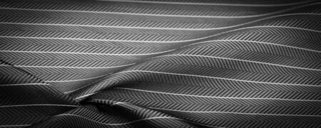 textured drawing, composite textiles, noble gray silver silk fabric with a thin white stripe, the nature of some ingredients or components; the way the whole or mixture is composed. Stock Photo