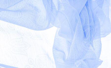 Texture, background, pattern, sensation, cambric - very thin translucent soft mercerized fabric, blue aqua Archivio Fotografico