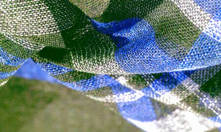 Texture, background, pattern, scottish checkered fabric, blue green white colors,