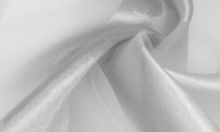 Texture, background, white silk striped fabric with a metallic sheen. If you have a bad mood, this fabric will lift it to unprecedented heights. Your project will be successful.