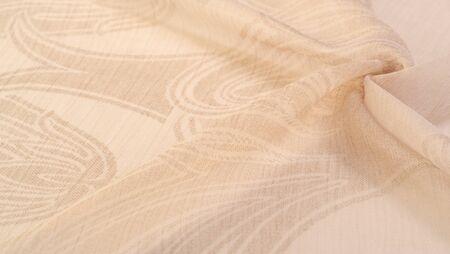 Texture, background, pattern, sensation, cambric - very thin translucent soft mercerized fabric, beige 版權商用圖片
