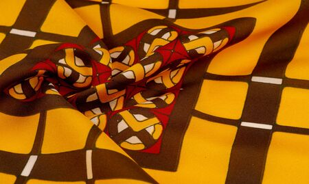 Background texture. silk bright fabric Mosaic geometric shapes Composition with colorful stained glass Grid design Illustration red yellow brown colors Stock Photo