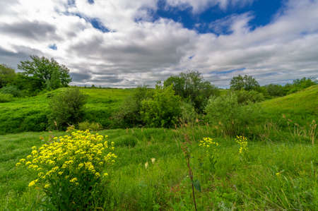Spring photography, meadows, fields, ravines, hills, rural landscape. A deep, narrow gorge with steep slopes. A naturally raised area of ​​land, not as high or craggy as a mountain.