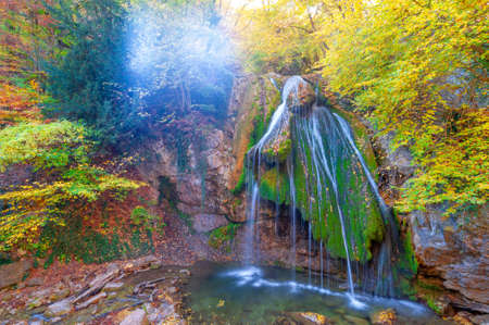 Photos of the Crimean peninsula in autumn Jur-Jur Waterfall is a landmark in the vicinity of Alushta, the Ulu-Uzen River at an altitude of 468 meters above sea level. Translated its name as