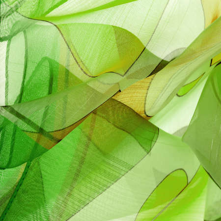 The background texture is an organza pattern - a light transparent fabric of fine knitwear, similar to a veil of fine viscose silk. green white yellow gray geometric colors