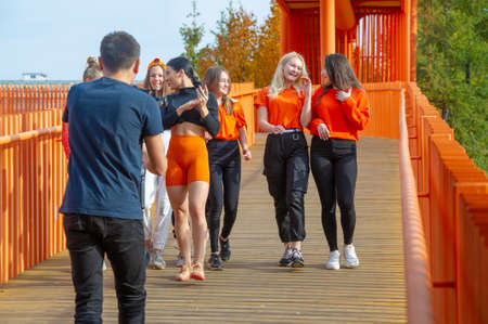 Dance group makes a video clip, girls in different clothes, cheerful mood, Russia Tatarstan Naberezhnye Chelny 14 07 2019