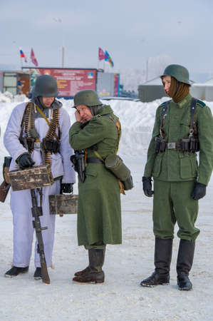 Winter landscape, reconstruction of military operations of the Great Patriotic War with fascist invaders, Naberezhnye Chelny Tatarstan Russia 16, 02, 2020