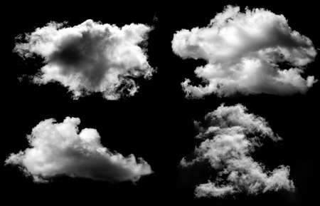 Designer Photography. Sky and clouds isolated on black background, close up