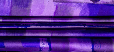 Texture. Background. Template. Purple blue pink silk fabric with an abstract pattern, a print of flora twigs. azure, homo