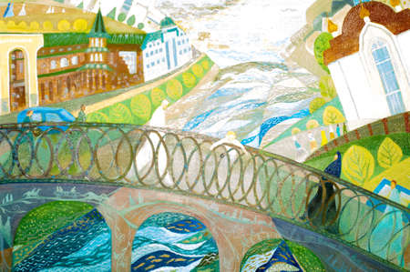Painting the artist's canvas. City sketches. Orthodox temple, Mosque, river with a flooded city, a boy on a bridge, Old Town, people. 写真素材