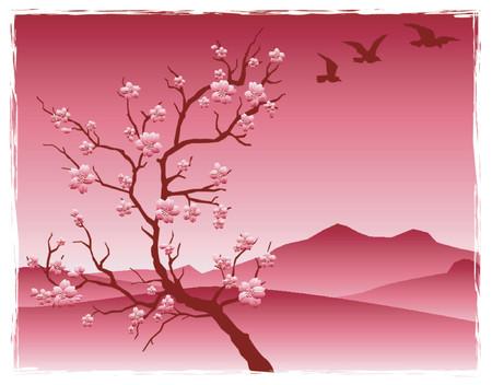 山の前の花桜の木  イラスト・ベクター素材
