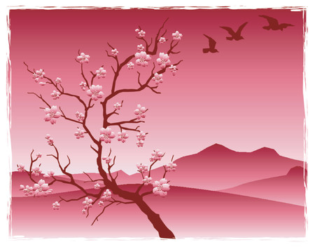 pink hills: cherry tree with blossoms in front of mountains
