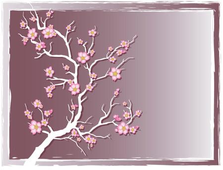 벚꽃이 만발한 벚꽃 일러스트