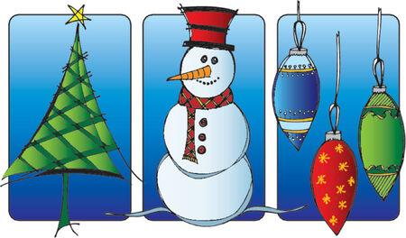 trio: Christmas trio vinette of tree, snowman and ornaments