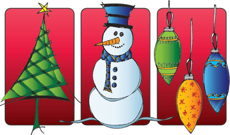 trio: Christmas trio vinette of snowman, tree and ornaments in red