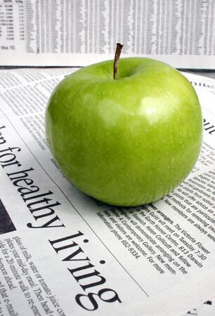 healthy living with a green apple