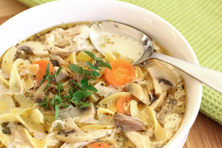 chicken noodle: chicken noodle soup Stock Photo