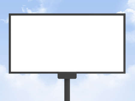 Large blank, empty, white billboard screen, on cloudy sky, for your advertisement and design  photo
