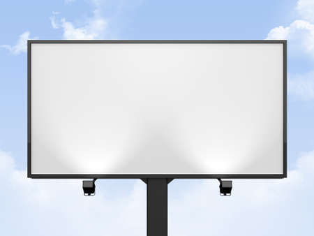 Large blank, empty, white billboard screen, on cloudy sky, for your advertisement and design
