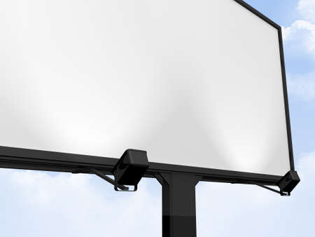 Large blank, empty, white billboard screen, on cloudy sky, for your advertisement and design. photo