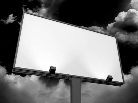 Large blank, empty, white billboard screen, on dark sky, for your advertisement and design. photo