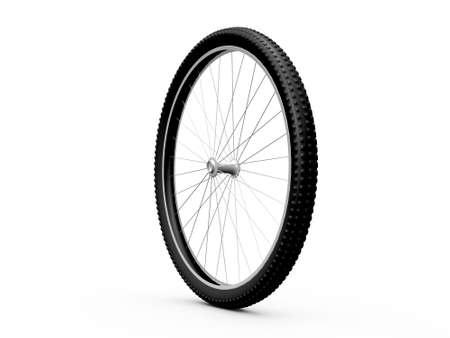 Bicycle wheel, isolated on white background. Stock Photo