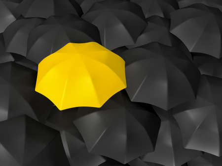 distinction: Yellow open umbrella standing out from the crowd, over many dark ones, group of black umbrellas.