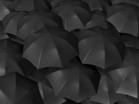 Group of black open umbrellas. photo