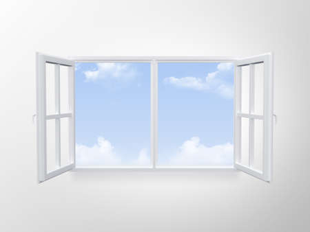Modern window on cloudy blue sky. photo